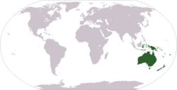 World map showing Oceania (geographically)