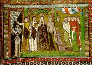 Empress Theodora and her retinue (fresco from Basilica of San Vitale, 6th century).