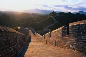 The Great Wall of China, stretching over 6700 km, was first erected in the 3rd century B.C. to protect the north from nomadic invaders and has been rebuilt several times since.