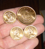 Gold sovereigns and a Krugerrand