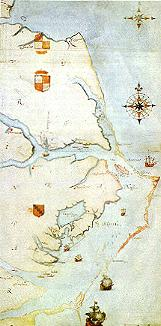 1584 map of Chesapeake Bay by John White