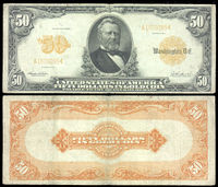 A picture of a gold certificate (top image is the obverse of the certificate, bottom image is the reverse of the certificate)