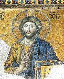 The most famous of the surviving Byzantine mosaics of the Hagia Sophia in Constantinople - the image of Christ on the walls of the upper southern gallery. Christ is flanked by the Virgin Mary and John the Baptist. The mosaics were made in the 12th century.