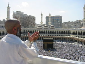 The Pilgrimage (Hajj) to Kaaba, Masjid al Haram, Mecca, is one of the five pillars of Islam or one of the roots of religion (for the Shi'a).