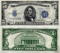 A picture of a Silver Certificate (top image is the obverse of the certificate, bottom image is the reverse of the certificate).