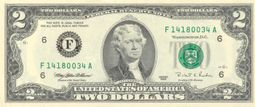 Obverse of the Series 1995 $2 bill