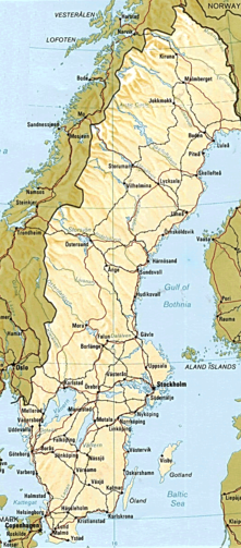 A map of Sweden with largest cities and lakes and most important roads and railroads, from a printed CIA World Factbook.
